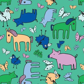 Pigs & Ponies - Green & Blue