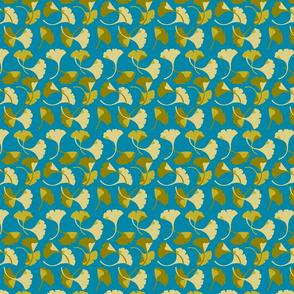 Ginkgo, turquoise and gold