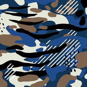Navy Camo, abstract painterly with tiger stripes