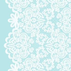 White lace on blue background