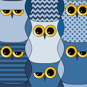 Interlocking blue owls