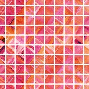 Watercolor Grid (Bright Red-Pink-Orange)