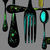 Cutlery Green and Blue