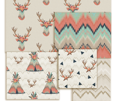Teepees in Ikat Chevron