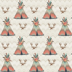Teepees in Ikat Chevron for Baby Girl
