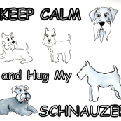 KEEP CALM hug my schnauzer  Quilting and sewing fabric projects, dog accessories and bedding. Bandanas. Cushions. For the pet lover who has schnauzers