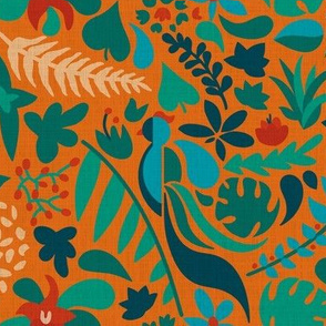 Paradise bird in jungle orange