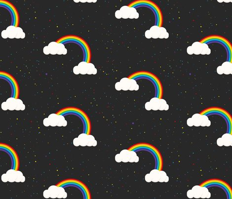 Night sky and rainbows fabric yopixart spoonflower for Night sky print fabric