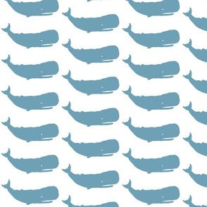 Whale Medium sea blue on white