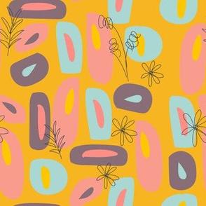 Mod Florals in Mustard