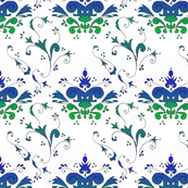 Blue and Green Floral Damask