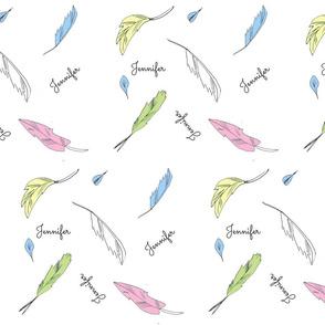 feather fun Large- pastels 4  kiwi-personalized