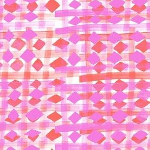 Brush stripes grid with square and diamond check in pink