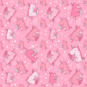 unicorn icecream pattern pink 2