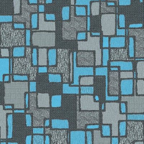 Mid Centrury Abstract Blue and Grey