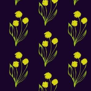Sunny Yellow Spring Blooms on Midnight Dark