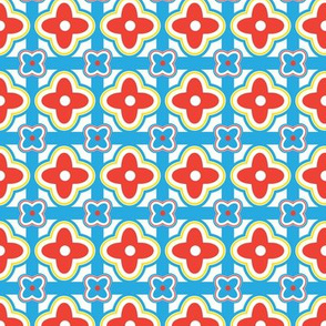 Tablecloth Geometric Floralin Blue, Red and Yellow