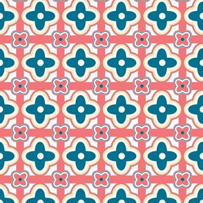 Tablecloth Geometric Floral in Denim Blue and Coral Pink