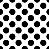 Black on white, 1-inch polka dots by Su_G
