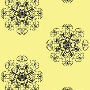 Lacy Floral Rosettes - Black on Buttery Yellow