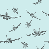 Plane Sketches on Blue