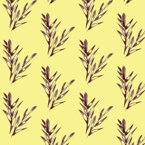 Callistemon Leaves - Vintage Yellow and Brown (Medium Size)