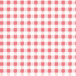 watercolor gingham in pinks and reds