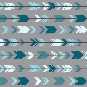 Arrow Feathers- Rotated - Winslow - blue teal gray