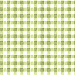 watercolor gingham in greens