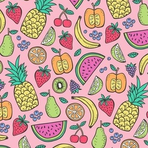 Summer Fruit on Pink  with Pineapple,strawberry,watermelon