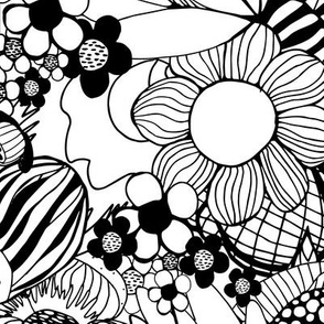 Black and White Floral Burst
