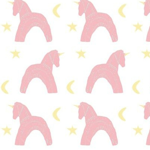 Pink, yellow, turquoise scandanavian block print unicorns with stars and moons