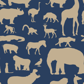 African Animals - Blue/Khaki