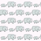 Elephants - Grey and Pink