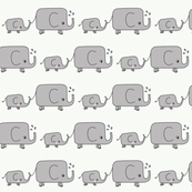 Elephants - Green and Grey