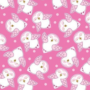 Snow Owls in magenta