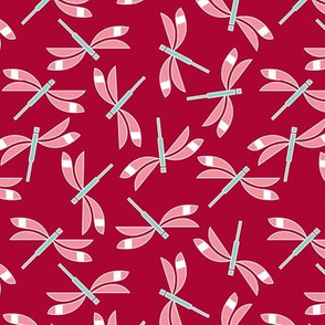Dragonflies in red