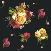 Dark Floral Garden - Black - SMALL