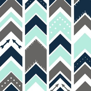 Arrows Chevron Aqua Gray Navy