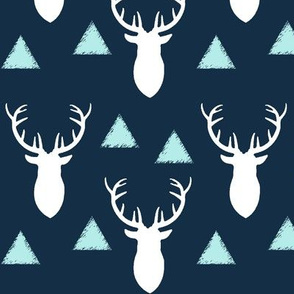 Navy White Sky Blue Deer Heads and Triangles
