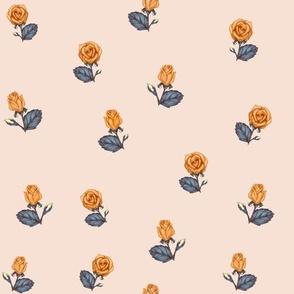 Autumn Roses Orange, Blue, Peach
