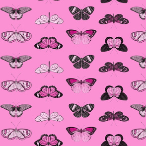 Butterflies - 2 directional repeat Pink on Pink