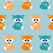 Baby foxes - turqoise, navy, orange