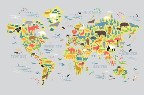 Animal Map for fit on Linen Cotton Canvas