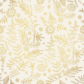 Hand drawn golden floral pattern