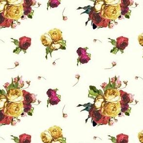 Dark Floral Garden - Ivory - SMALL