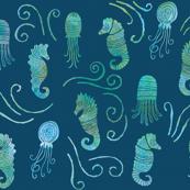 seahorse ocean in teal