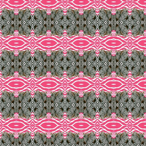 Black and White African Zebras mirrored with hot pink  background