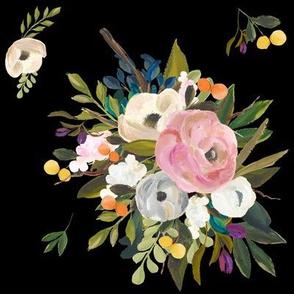 August Floral - Deep Black