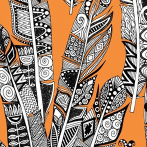 geo feathers orange